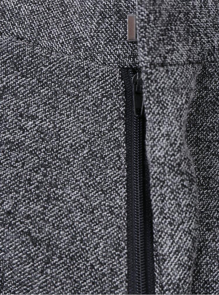 Tmavě šedé žíhané kalhoty Selected Homme Tapered