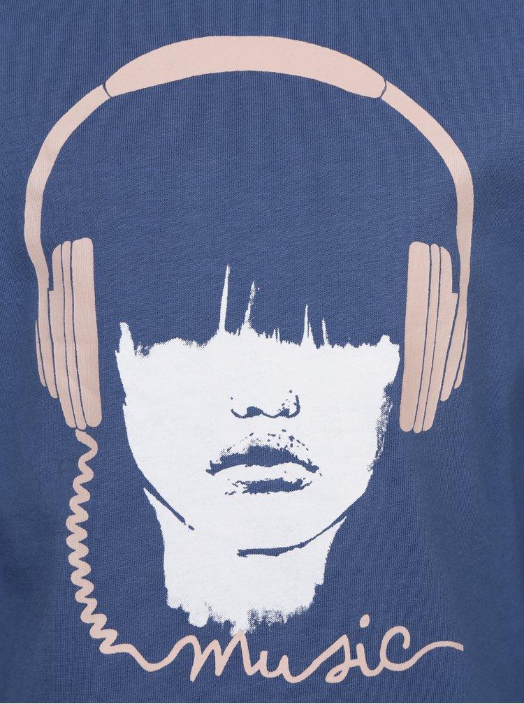 Tmavě modré holčičí tričko s potiskem name it Veen