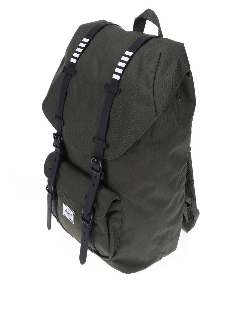 Tmavě zelený batoh s černými popruhy Herschel Little America 25 l