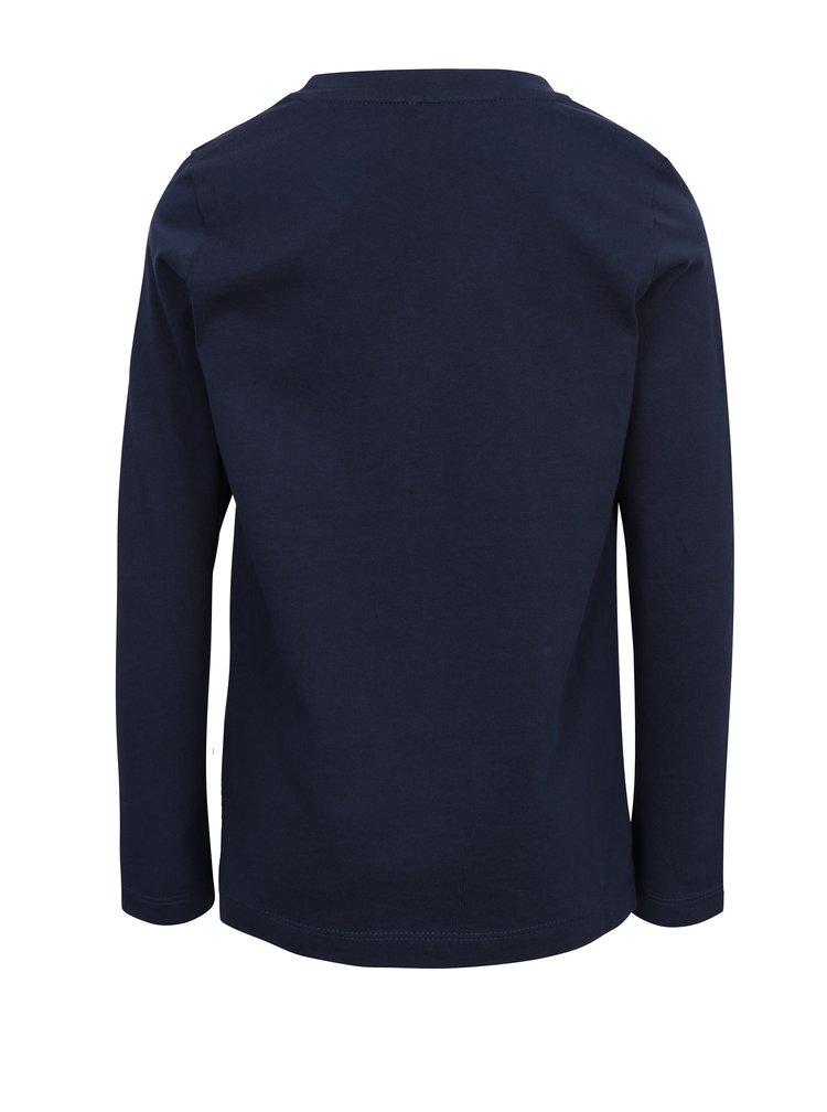Tmavě modré klučičí tričko s dlouhým rukávem name it Karse