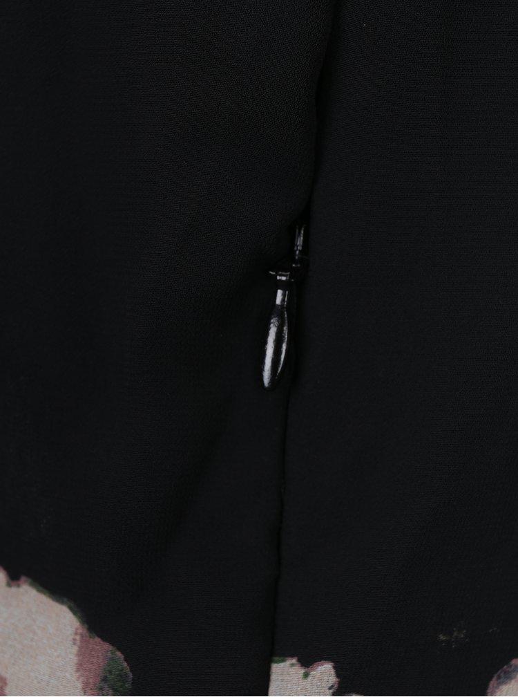 Černé květované maxišaty s překládaným výstřihem VERO MODA Mia