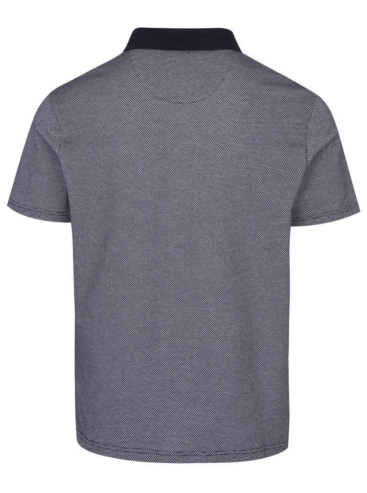 Bílo-modré vzorované polo tričko Burton Menswear London