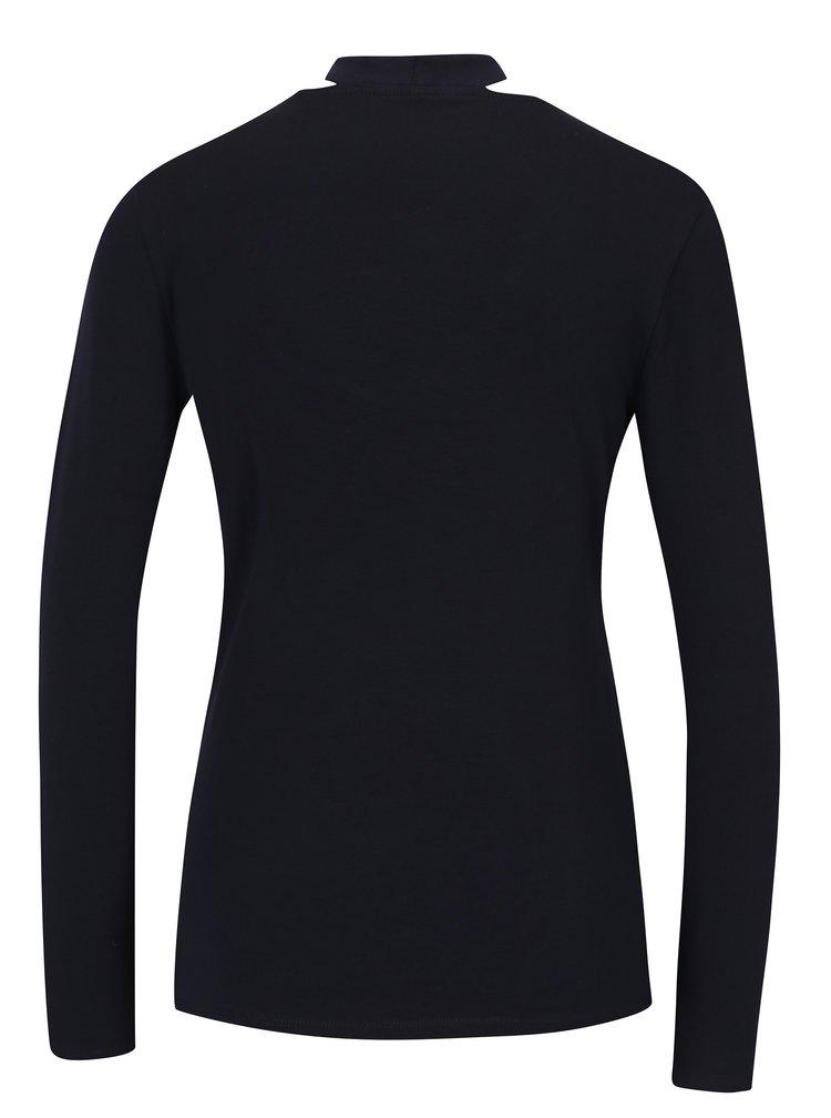 Tmavě modré tričko s chokerem a dlouhým rukávem  ONLY Live