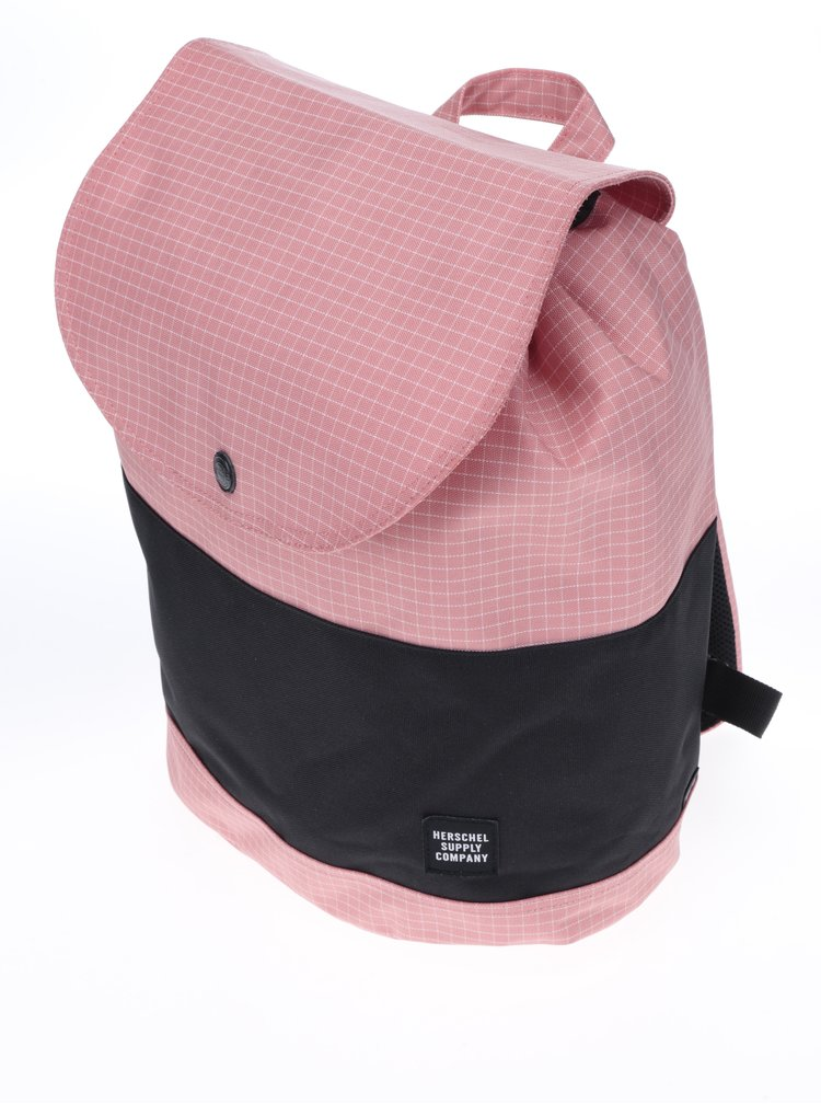 Černo-růžový kostkovaný batoh Herschel Reid 21 l