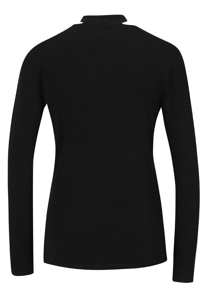 Černé tričko s chokerem a dlouhým rukávem ONLY Live