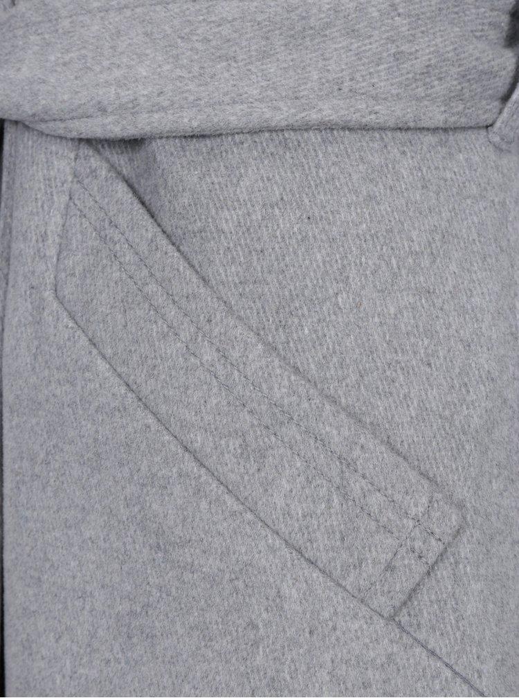 Světle šedý kabát s příměsí vlny VERO MODA Jess