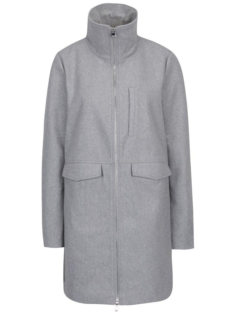 Světle šedý kabát se zipem Noisy May Minna
