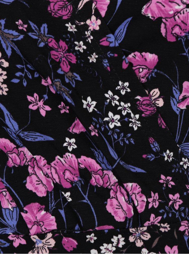 Růžovo-černé květované šaty s překládaným výstřihem Dorothy Perkins
