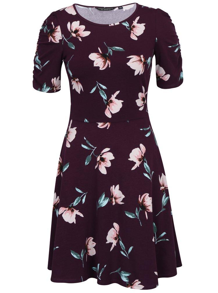 Růžovo-vínové květované šaty s krátkým rukávem Dorothy Perkins