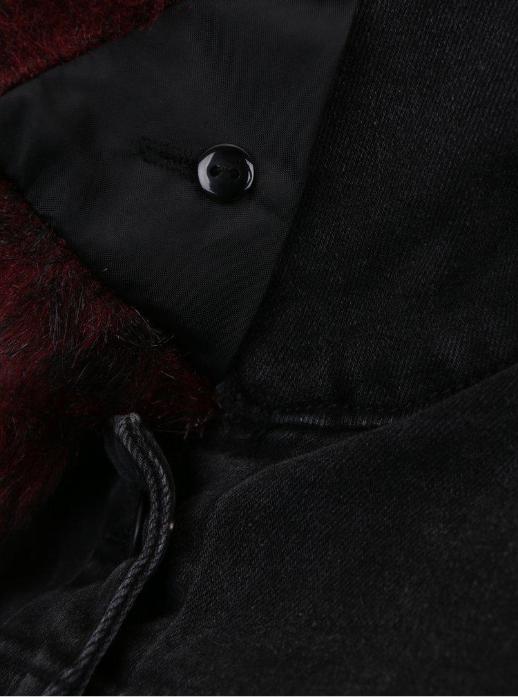 Černá džínová bunda s odnímatelnou umělou kožešinou ONLY Chris