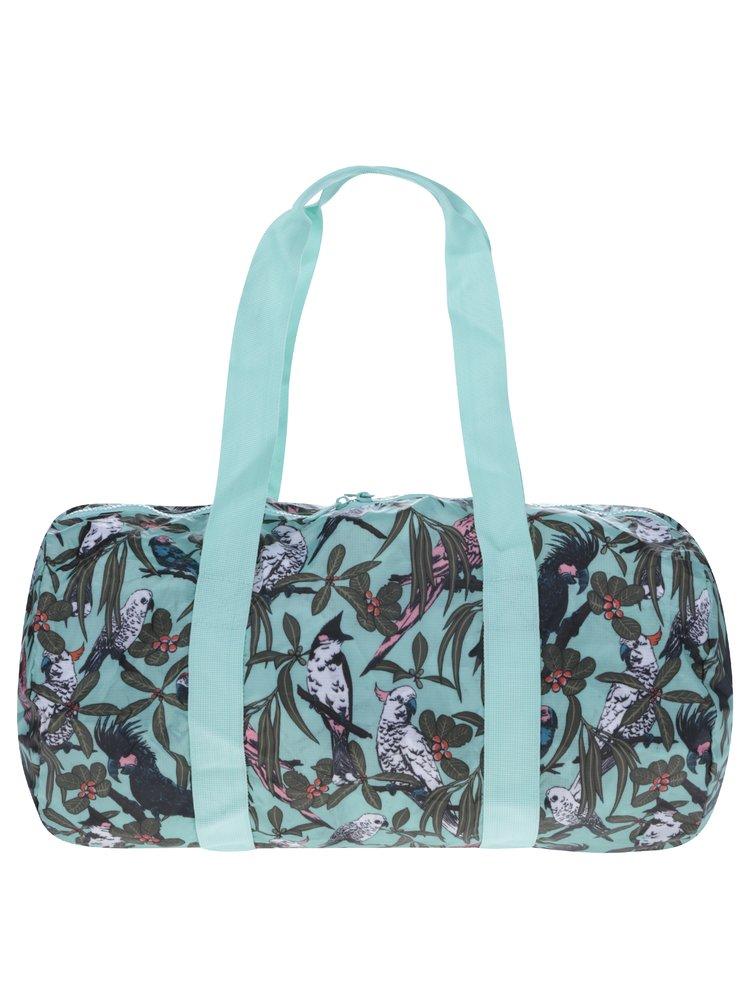 Mentolová skládací cestovní taška s potiskem Herschel Heritage Duffle 22 l