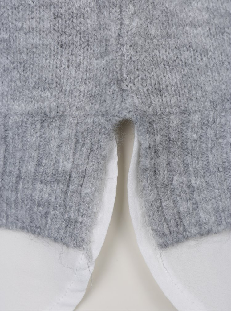 Šedý svetr s průstřihy na ramenou a všitou halenkou 2v1 Dorothy Perkins