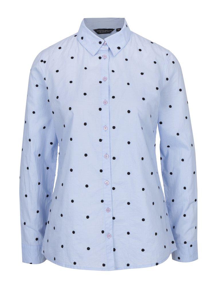 Modrá puntíkovaná košile Dorothy Perkins