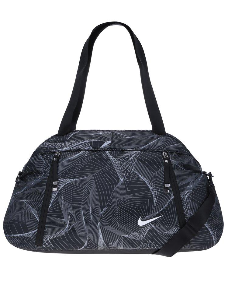 Geantă sport  neagră cu model geometric Nike Aura Print