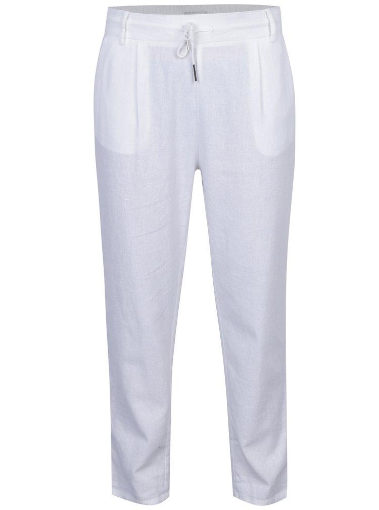 Krémové volné kalhoty s příměsí lnu ONLY Summer