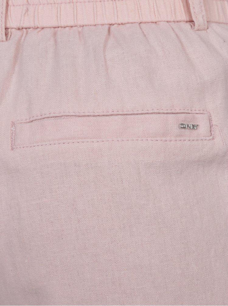 Pantaloni roz prafuit cu croi drept si talie elastica ONLY Summer
