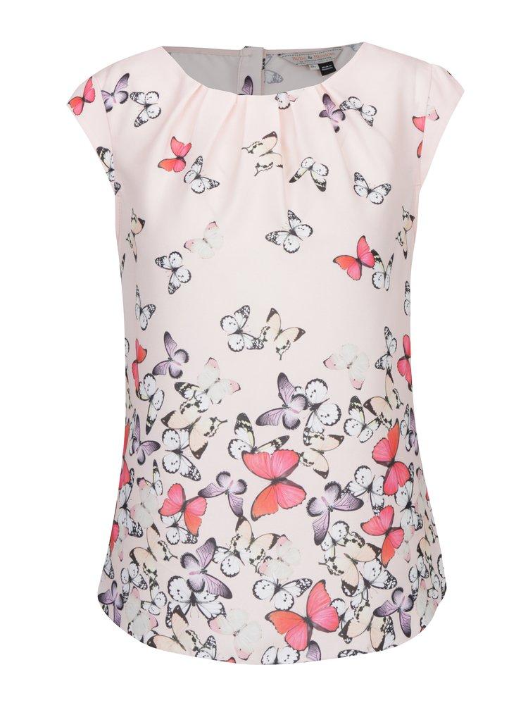 Top roz cu print fluturi si nasturi Billie & Blossom