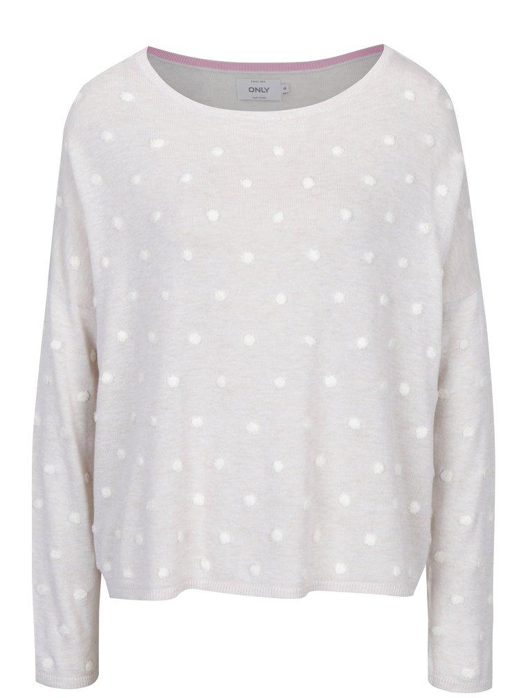 Krémový volný svetr s plastickými detaily ONLY Liv