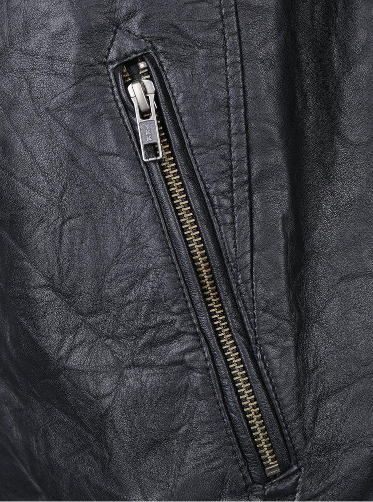Jacheta biker neagra din piele naturala - Jack & Jones Cop