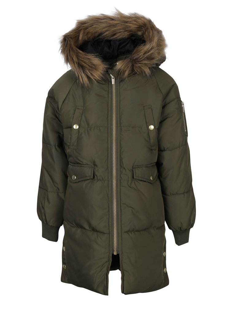 Khaki holčičí prošívaná bunda s kapucí name it Melias