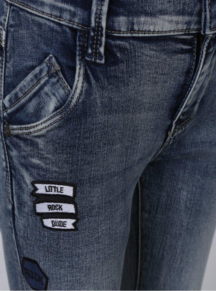Modré klučičí slim fit džíny s nášivkami name it Artin