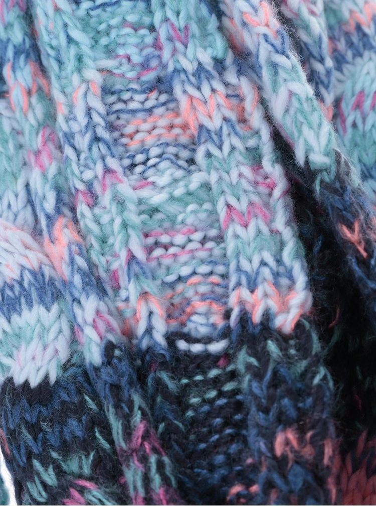 Mentolovo-růžová holčičí pletená šála s třásněmi name it Maritz