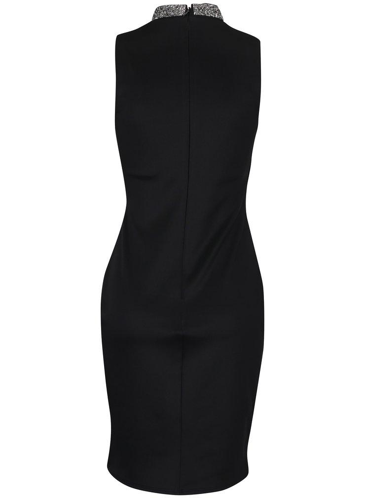 Černé pouzdrové šaty s aplikací Dorothy Perkins