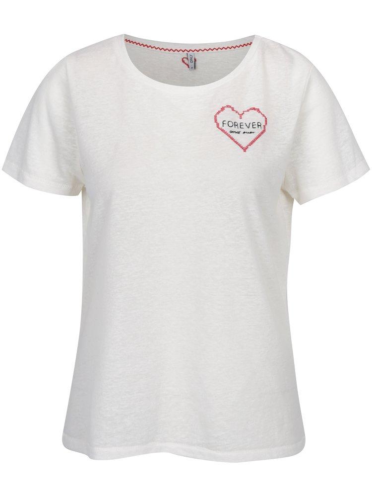 Krémové tričko s výšivkou srdce ONLY Evelyn