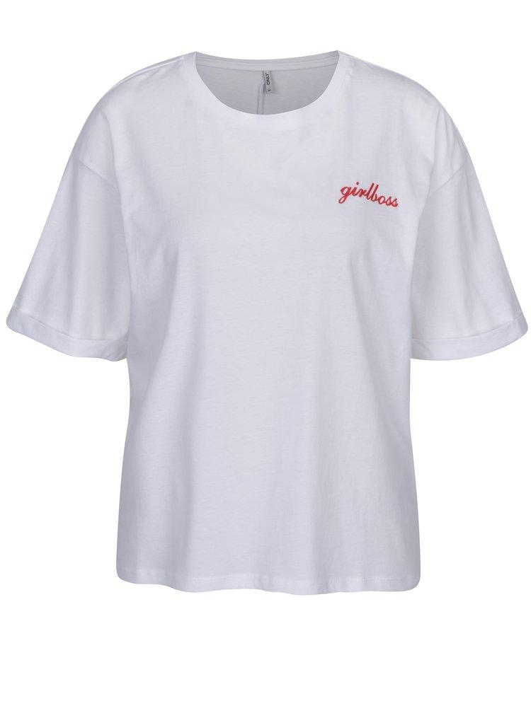 Bílé volné tričko s vyšitým nápisem ONLY Girl Boss