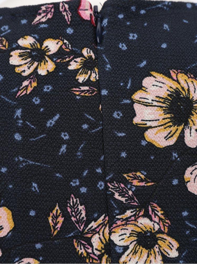 Tmavě modré květované šaty ONLY Candice Cup