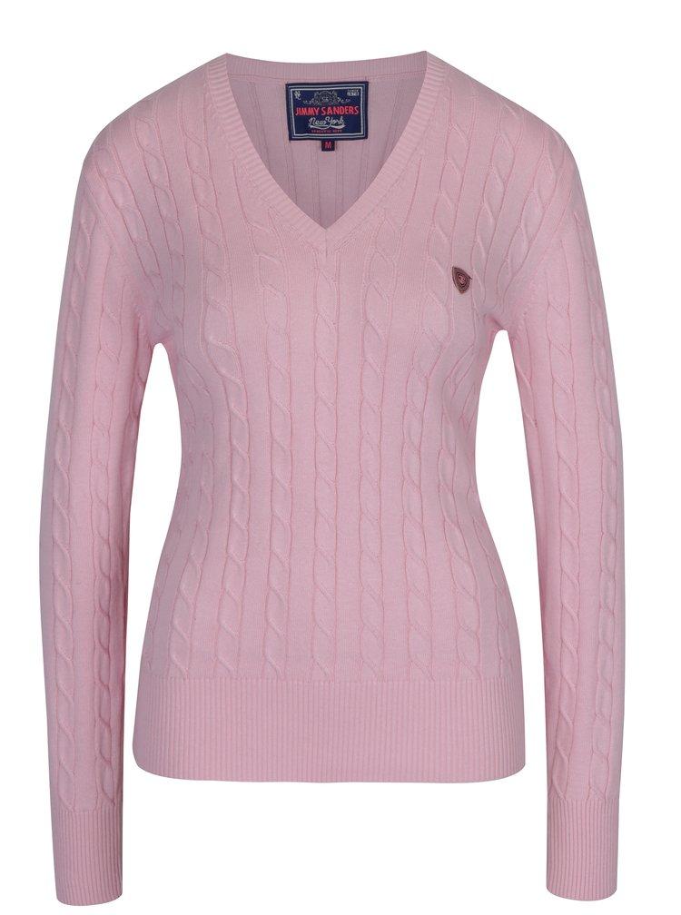 Světle růžový dámský svetr s véčkovým výstřihem Jimmy Sanders