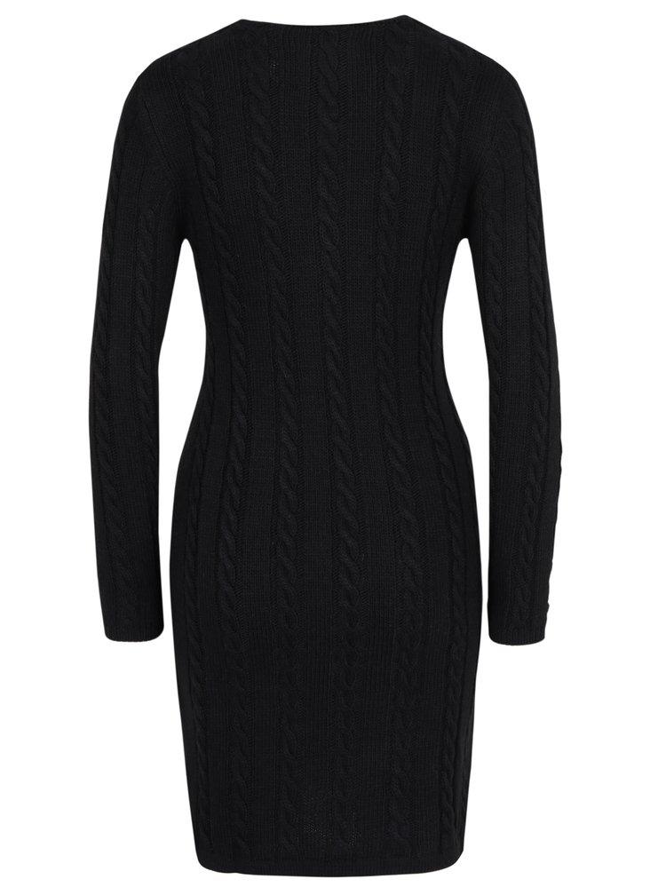 Černé svetrové šaty s véčkovým výstřihem Jimmy Sanders