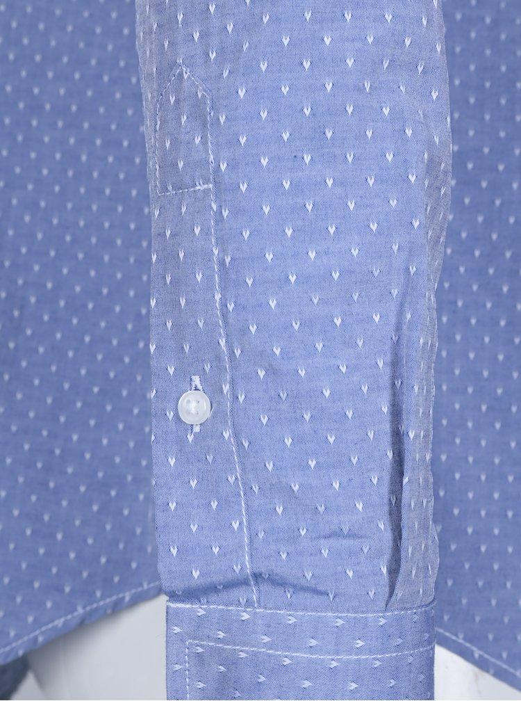 Tmavě modrá pánská vzorovaná košile s výšivkou Jimmy Sanders