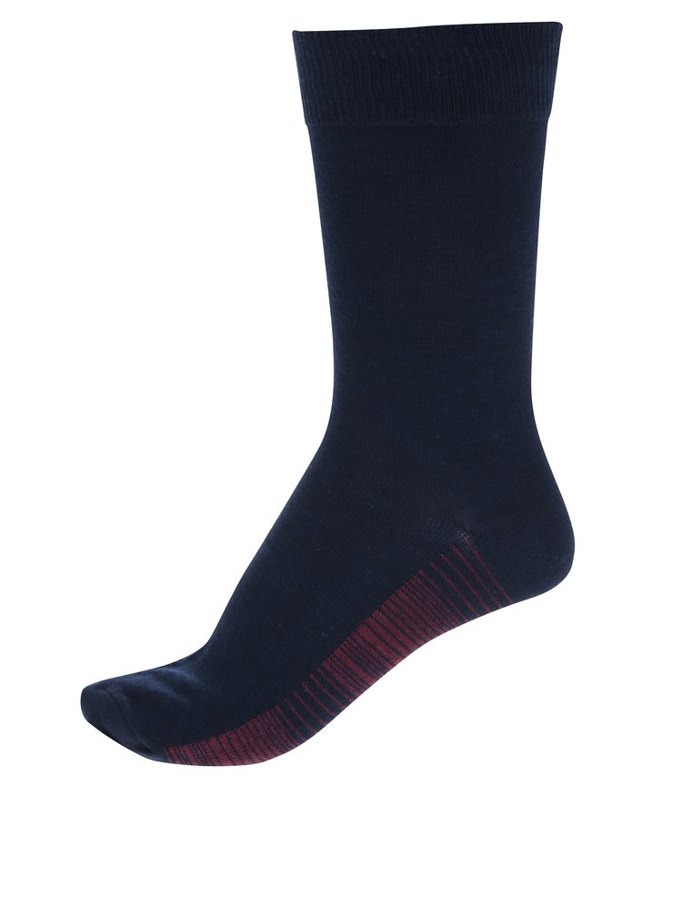 Sada sedmi párů pruhovaných pánských ponožek v tmavě modré barvě M&Co