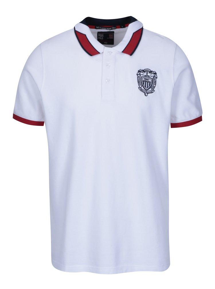 Bílé pánské polo tričko s výšivkou loga Jimmy Sanders