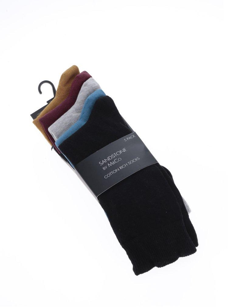Sada pěti párů pánských ponožek ve vínové a hořčicové barvě M&Co