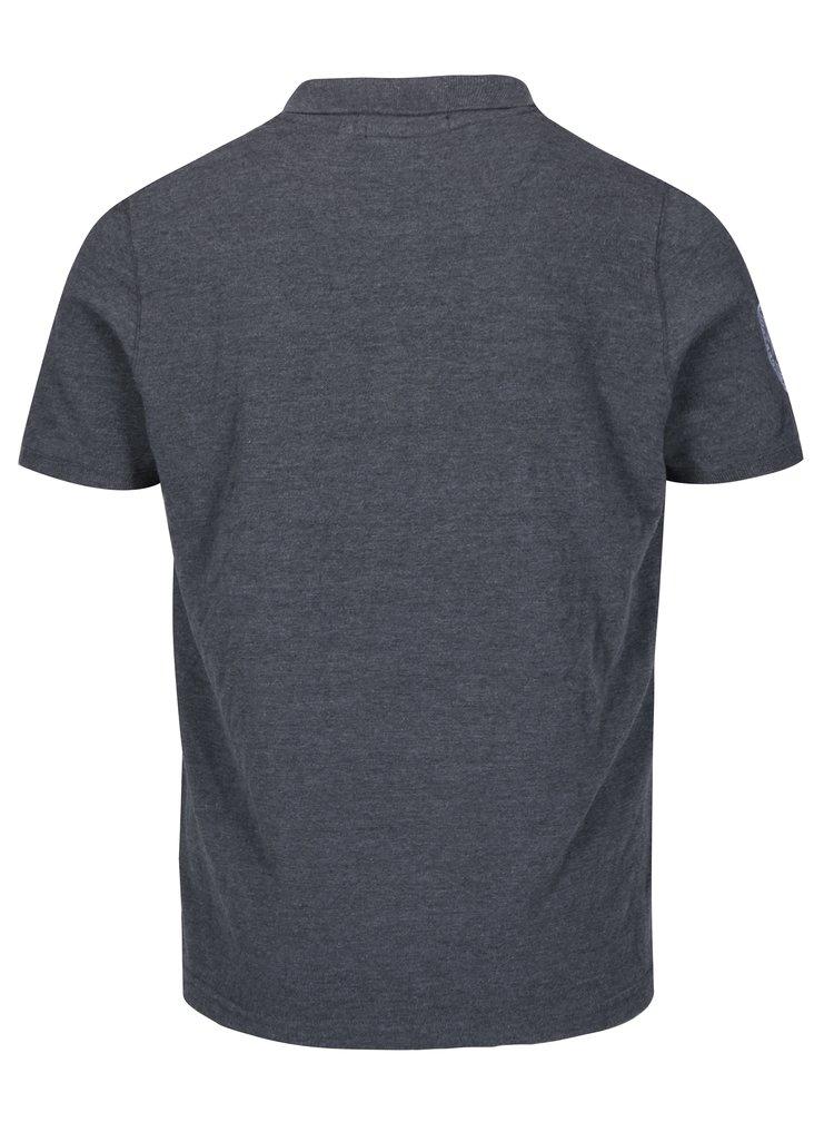 Šedé pánské žíhané polo tričko s výšivkou loga Jimmy Sanders