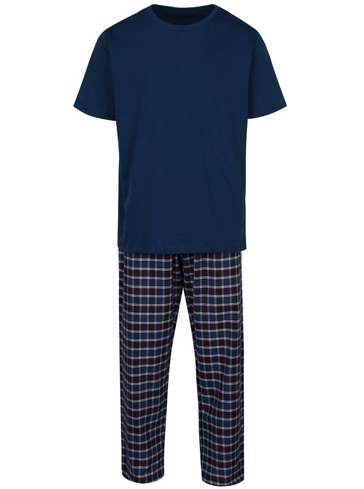 Petrolejové pánské kostkované pyžamo s krátkým rukávem M&Co