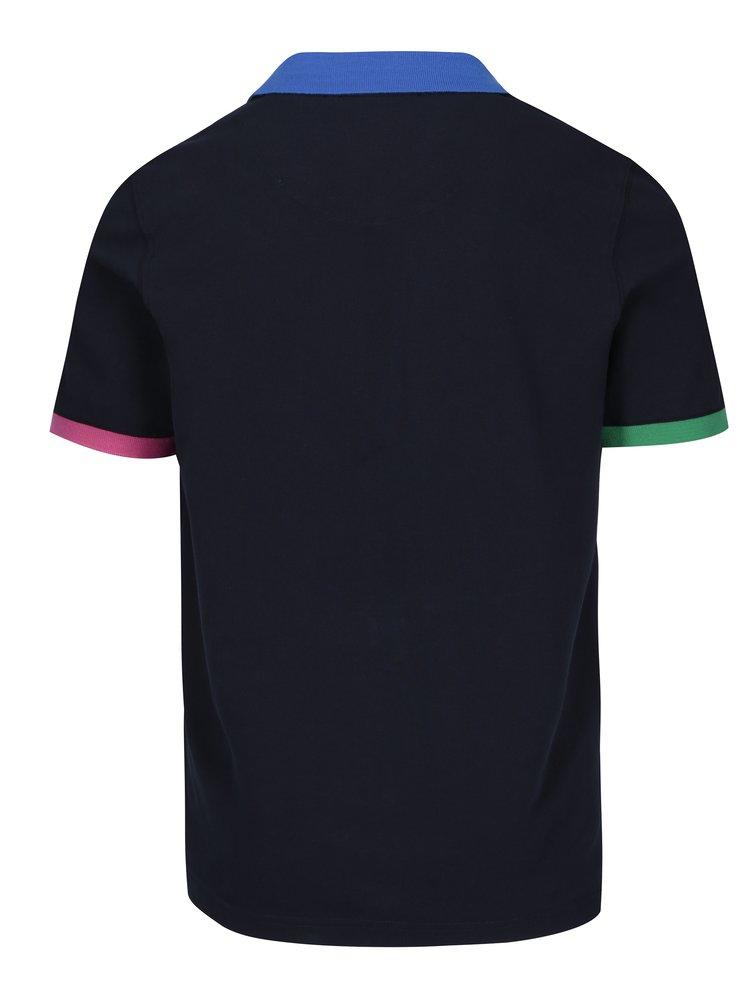 Tricou polo bleumarin cu terminații colorate pentru bărbați - Jimmy Sanders