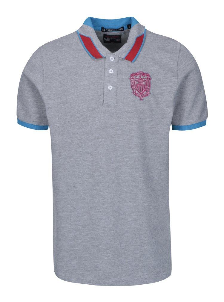 Tricou polo gri cu logo brodat pentru bărbați - Jimmy Sanders