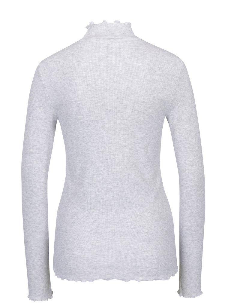 Světle šedé žíhané tričko se stojáčkem ONLY Ella