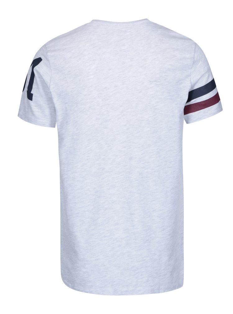 Světle šedé pánské žíhané tričko s potiskem Jimmy Sanders