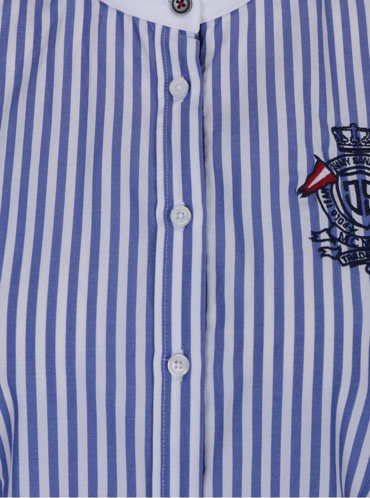 Bílo-modrá dámská pruhovaná košile bez límečku Jimmy Sanders