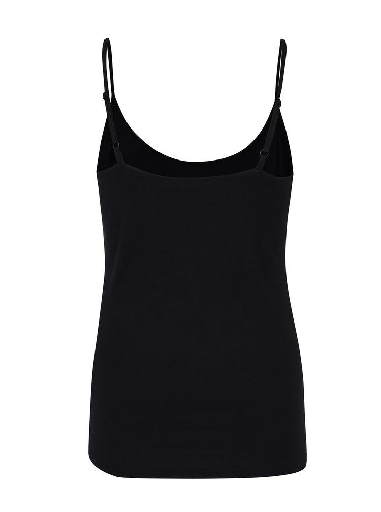 Čierne basic dámske tielko s tenkými ramienkami M&Co
