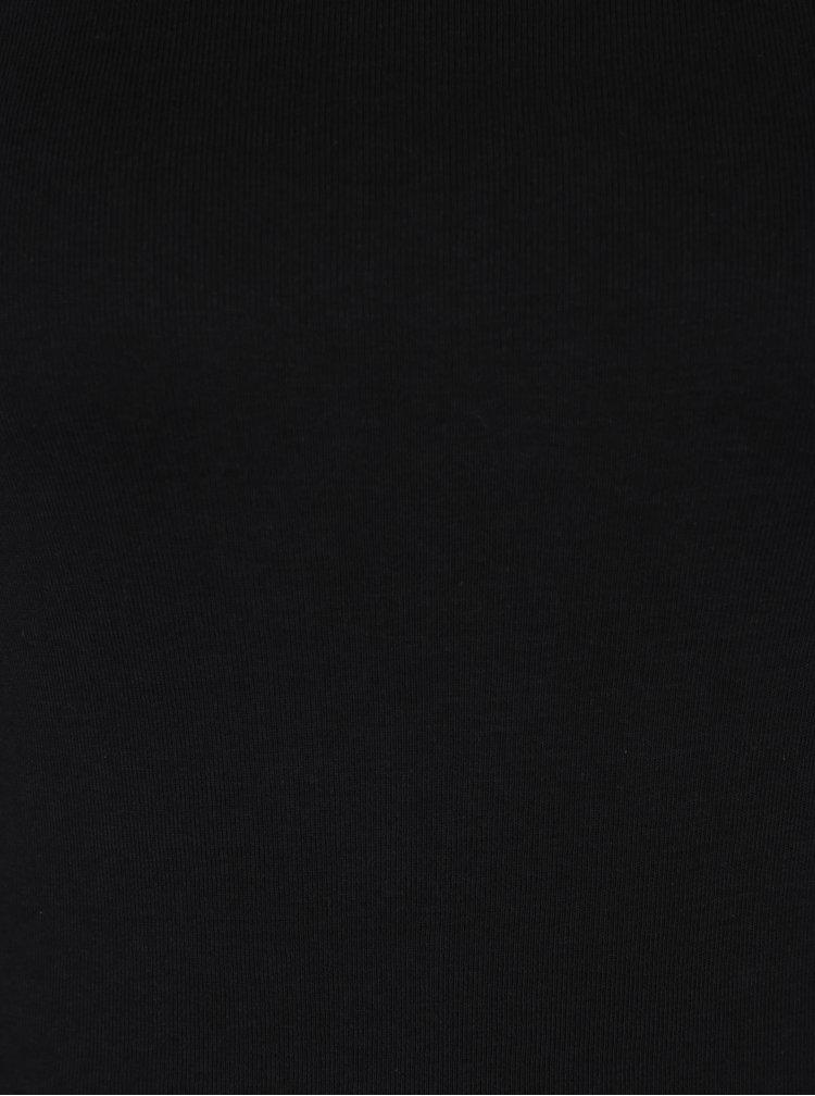 Bluza neagra din bumbac cu maneci 3/4 - M&Co