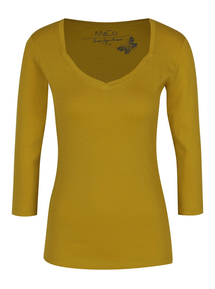 Bluza mustar din bumbac cu maneci 3/4 -  M&Co