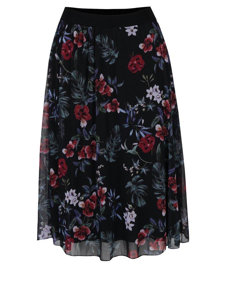 Čierna kvetovaná midisukňa Haily´s Flower