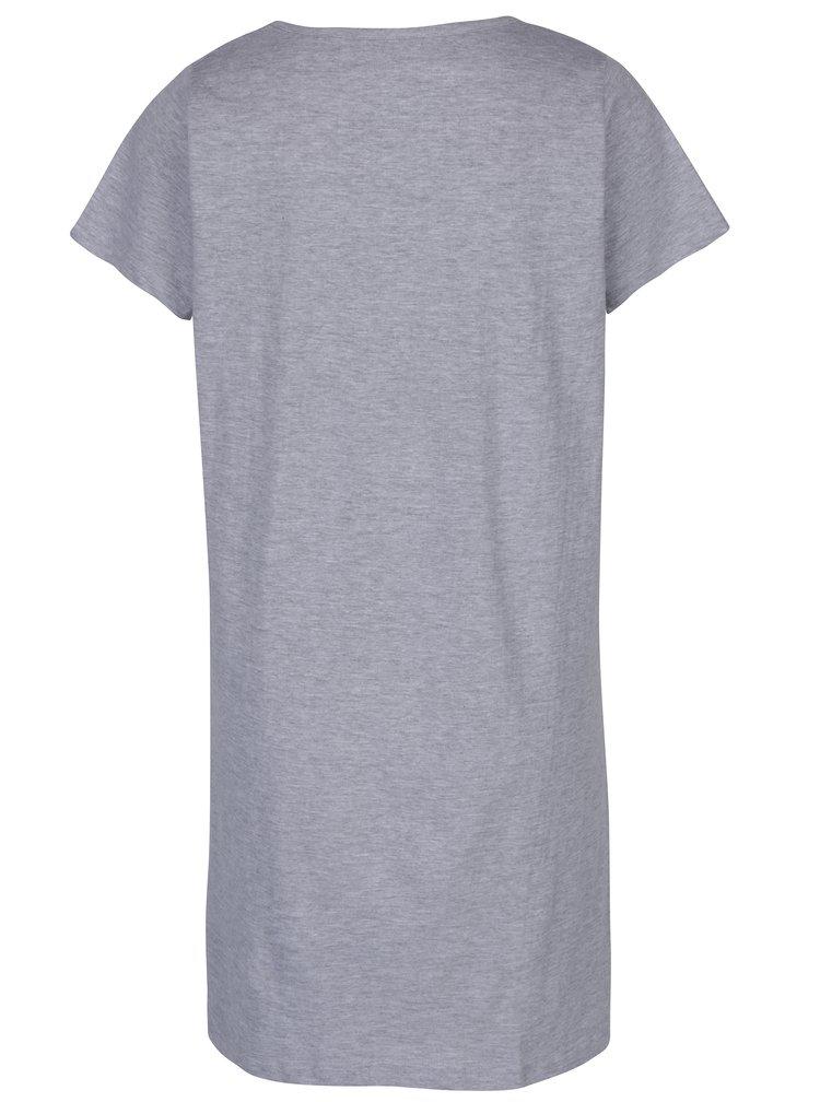 Camasa de noapte lunga gri melanj cu print - M&Co