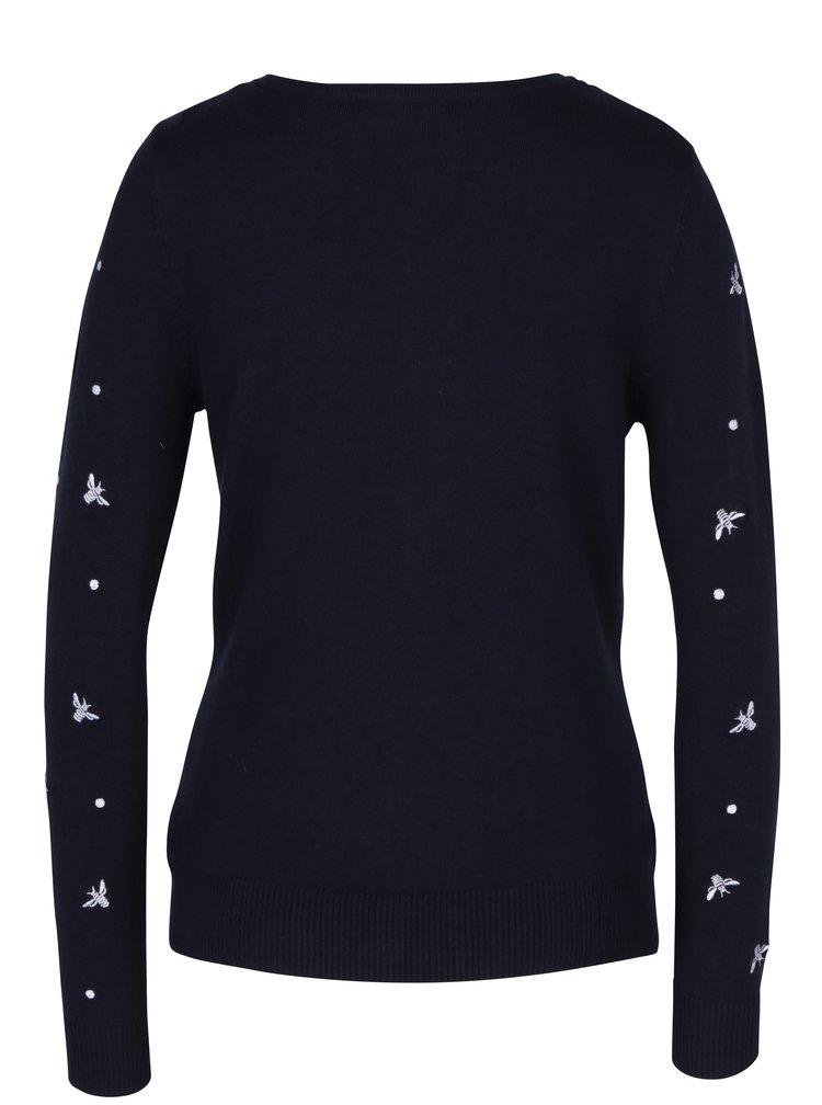 Tmavě modrý dámský kadrigan s knoflíky a výšivkami M&Co