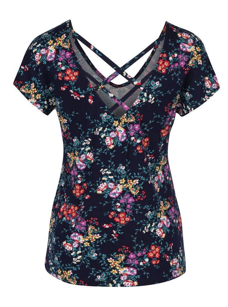 Tmavě modré dámské květované tričko s pásky na zádech M&Co